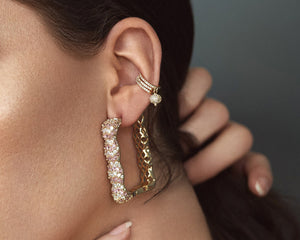 FAX Jewelry | 'Rose Box' Large Gold Hoop Earrings | Model