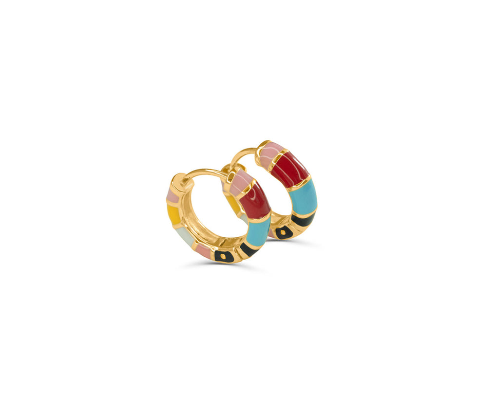 'Pop Art' Gold Enamel Huggie Hoops
