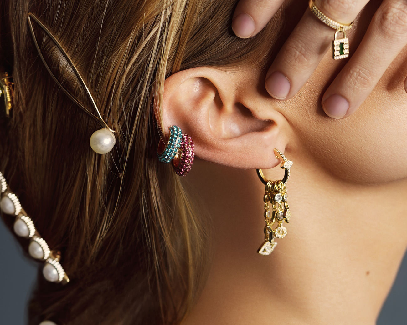FAX Jewelry | Shine Bright | Rainbow and Gold Ear Cuff  | Model