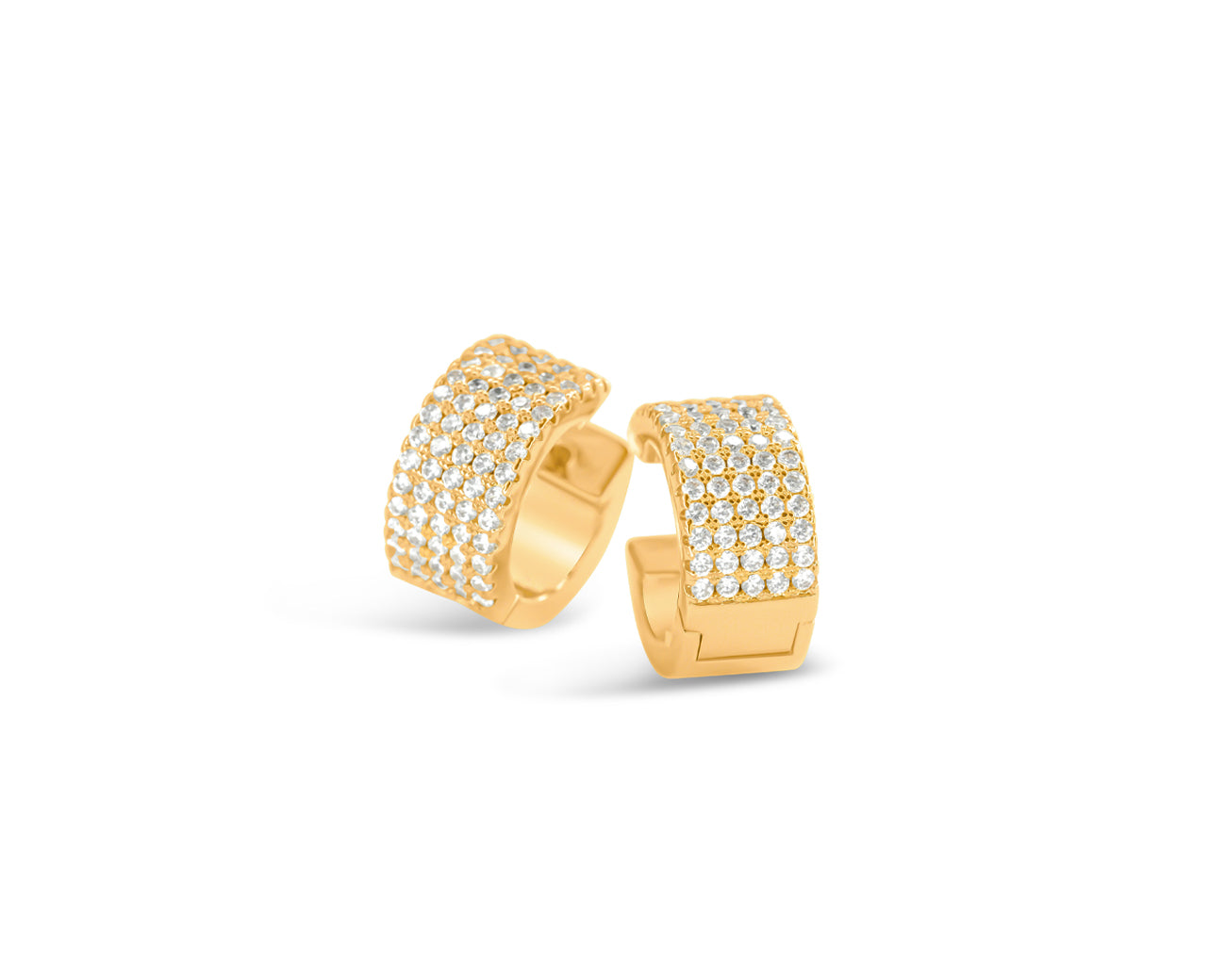 FAX Jewelry | Fully Stacked Mini Hoop Huggie Earrings | 18K Gold Plated Brass