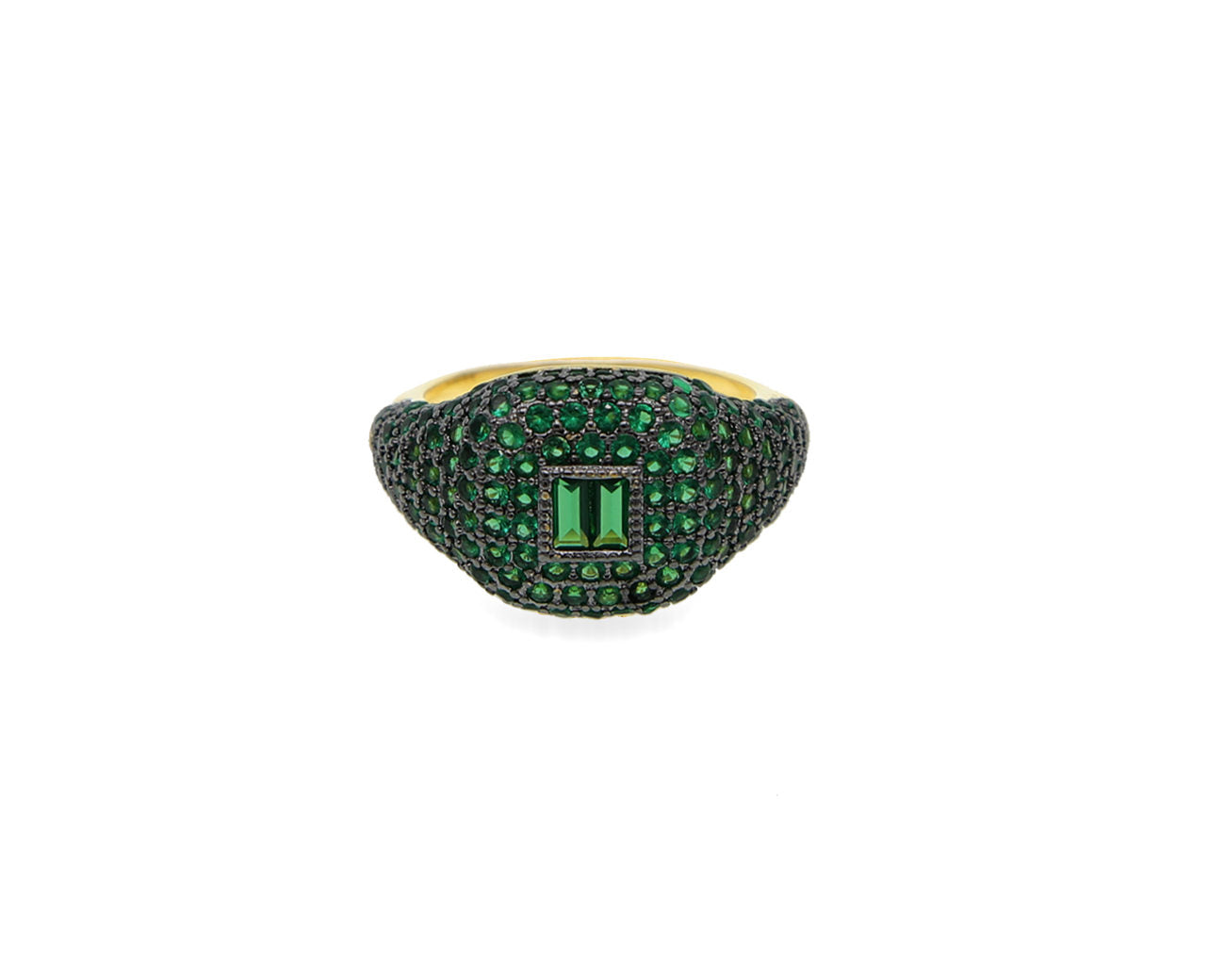 FAX Jewelry | 'Forever Thing' Micro Pave Ring | 18K Gold Plated with Emerald Stones