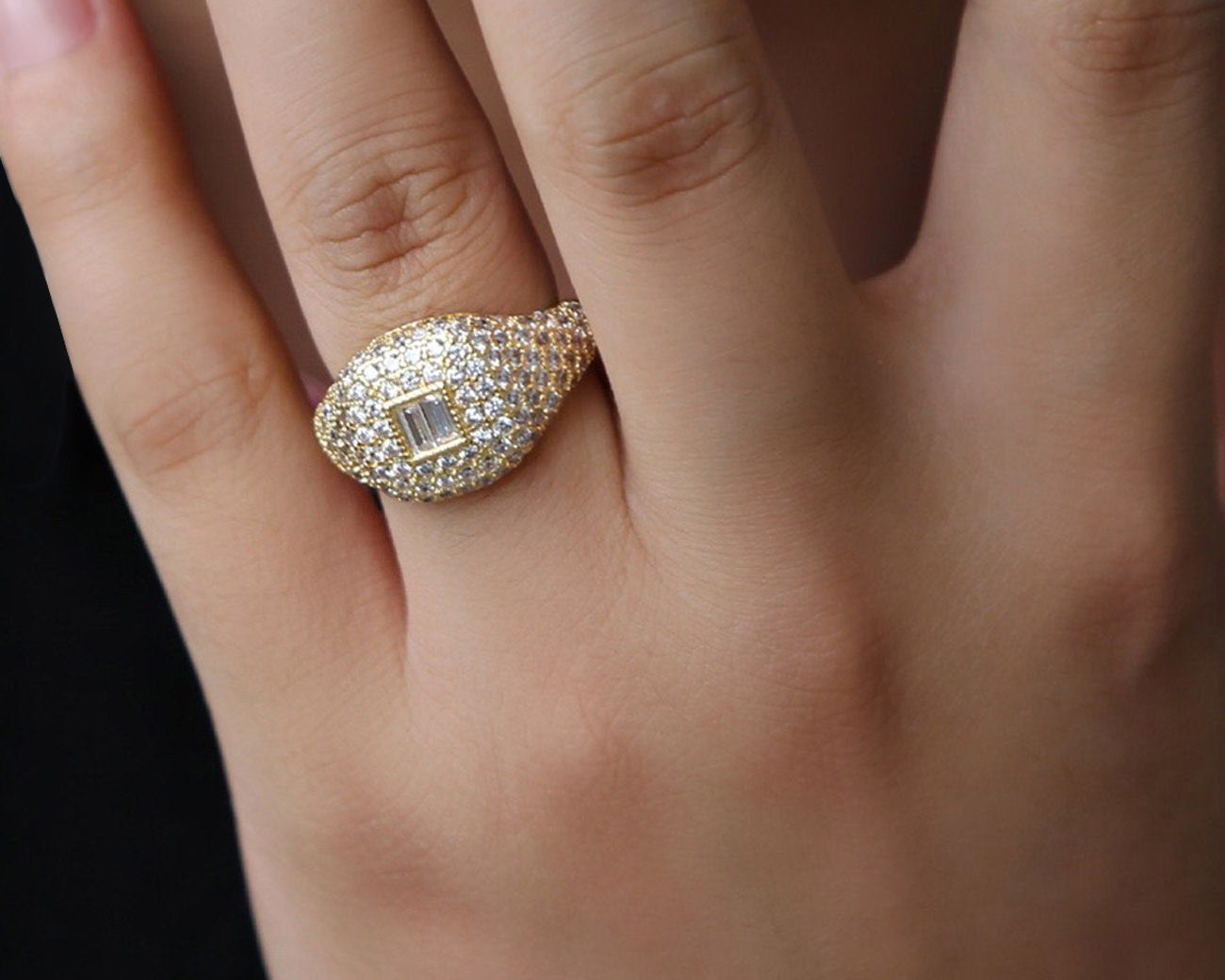 FAX Jewelry | 'Forever Thing' Micro Pave Ring | 18K Gold Plated with White Stones | On Model