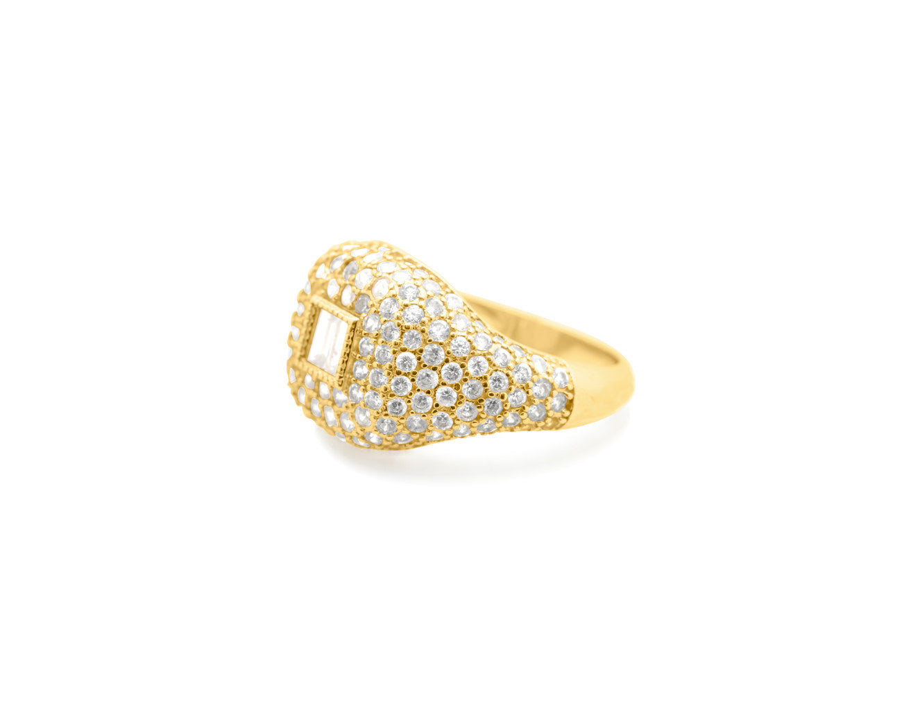 FAX Jewelry | 'Forever Thing' Micro Pave Ring | 18K Gold Plated with White Stones | side detail view