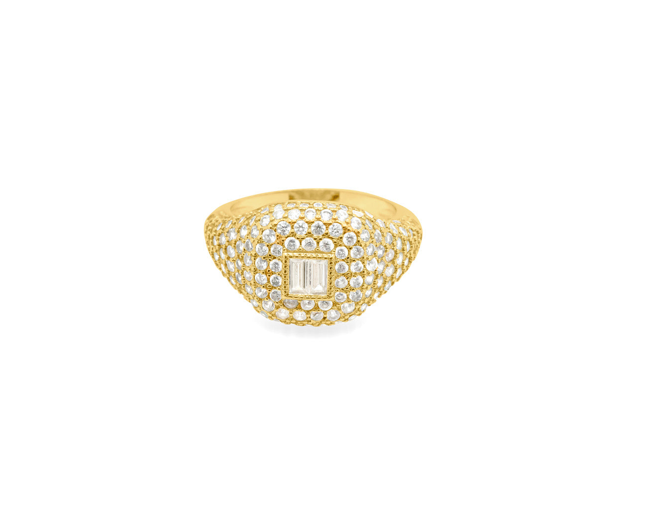 FAX Jewelry | 'Forever Thing' Micro Pave Ring | 18K Gold Plated with White Stones