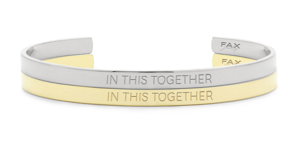 Unisex 'IN THIS TOGETHER' Cuff Bracelet Stainless Steel