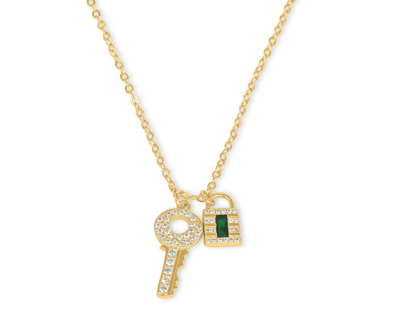FAX Jewelry | Lockdown 14K Gold and Emerald Necklace
