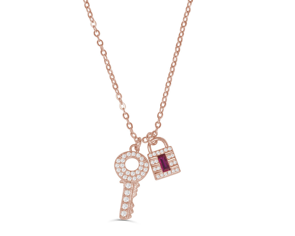 FAX Jewelry | Lockdown Rose Gold and Ruby Necklace