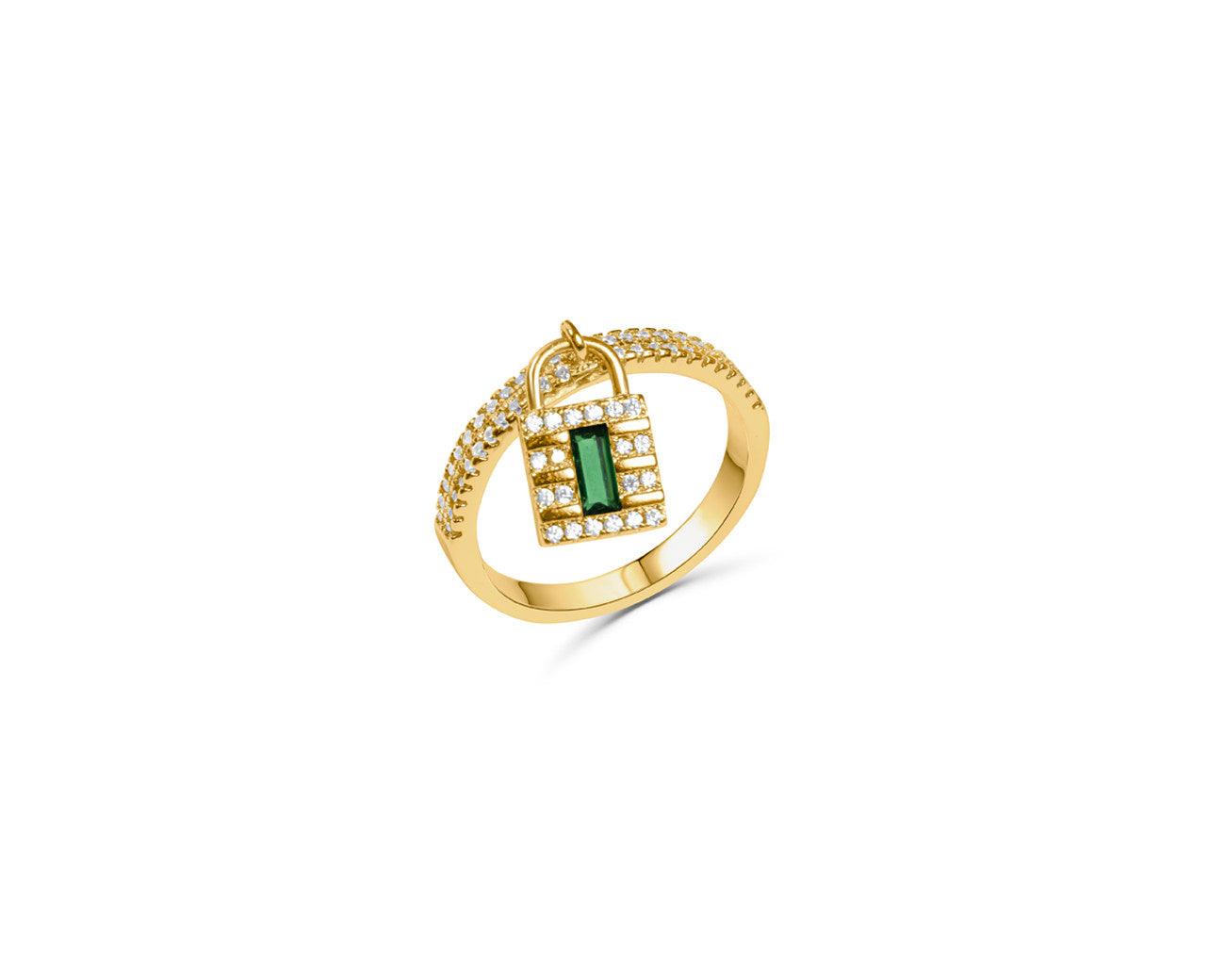 FAX Jewelry | 'Lockdown' 18K Gold Plated and Emerald Green Zirconia Ring