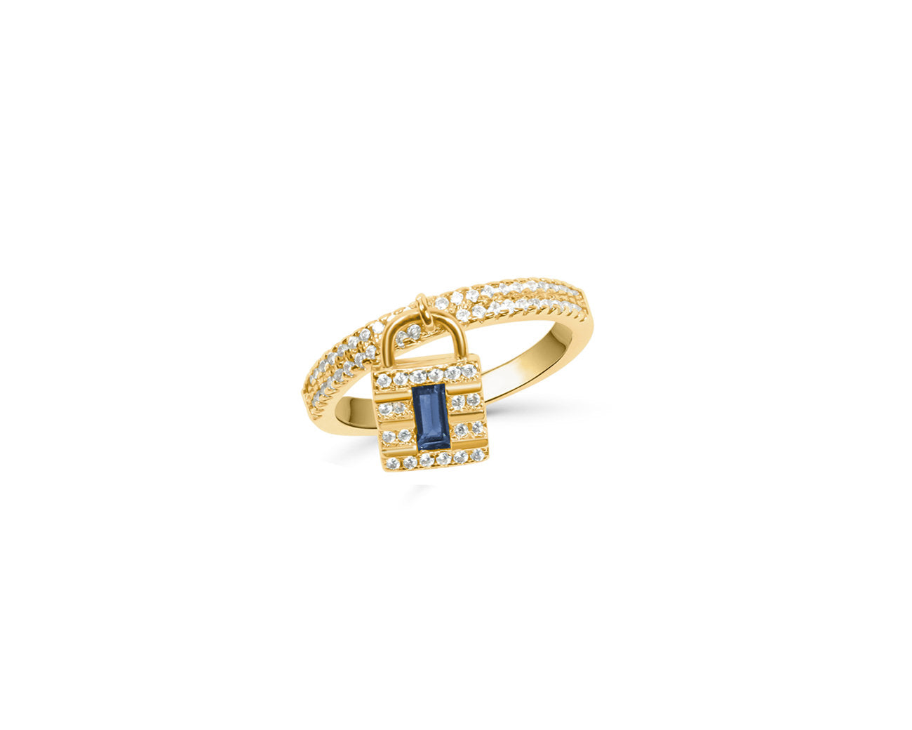 FAX Jewelry | 'Lockdown' 18K Gold Plated and Sapphire Blue Zirconia Ring