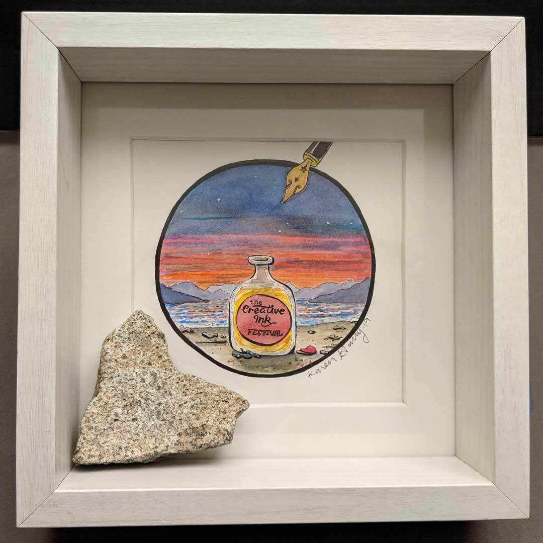 Creative Ink Festival Framed with Heart Rock (courtesy Mother Nature) by Karen Garry