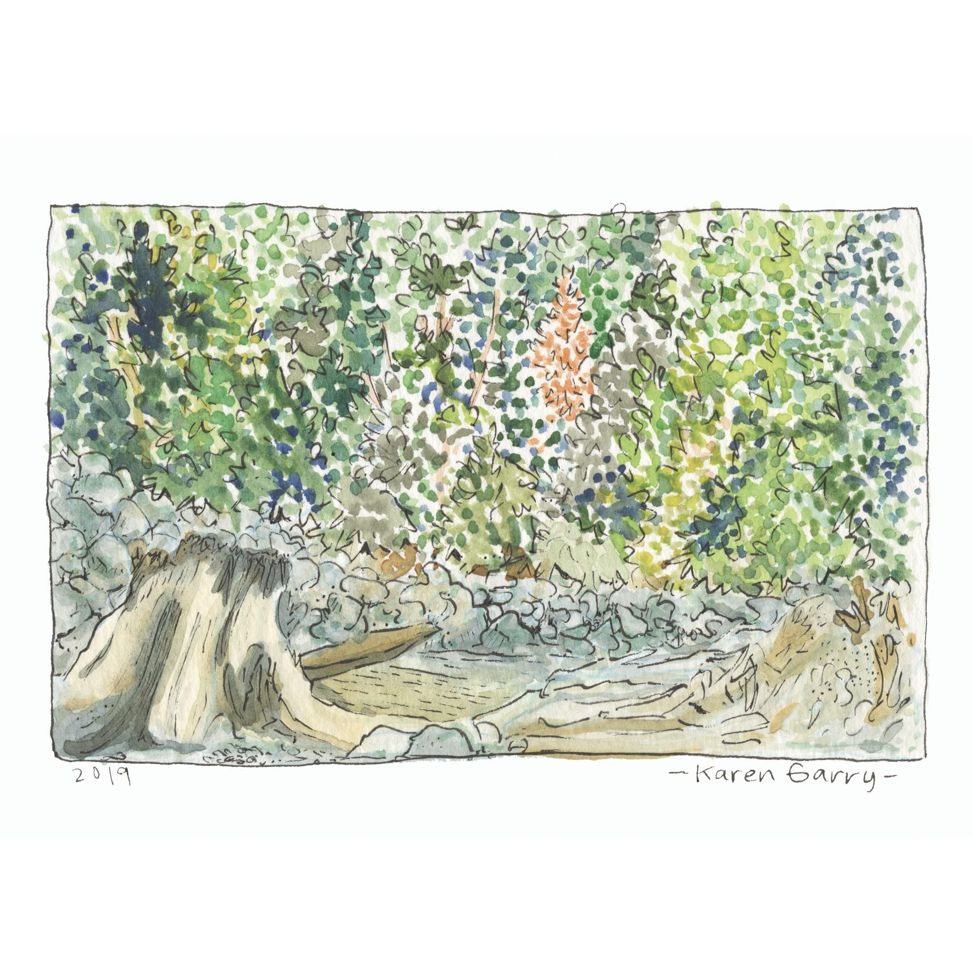 Hand painted postcard of driftwood and forest by the beach.
