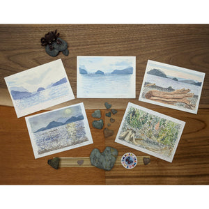 collection of 5 hand painted postcards