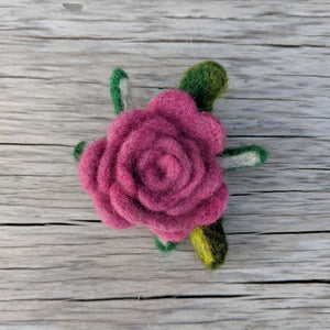 Pink Needle Felted Rose