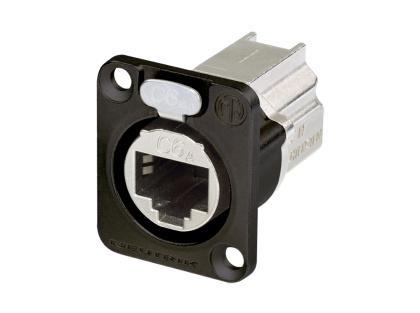 Neutrik - NE8FDX-P6-B - D-shape CAT6a panel connector, shielded, feedthrough, black housing.