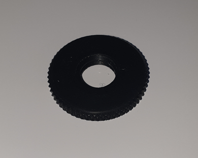 K&M - Aluminum knurled threaded disc [black] for end of mic and booms.
