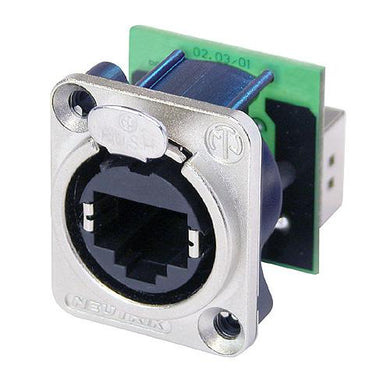 Neutrik - NE8FDP - RJ45 feedthrough receptacle, D-shape metal flange with the latch lock, mounting screws included.