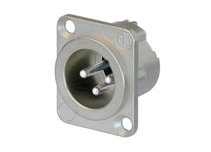 Neutrik - NC3MD-LX - 3 pole male receptacle, solder cups, Nickel housing, silver contacts.