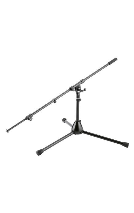 K&M - 25500-300-55 - Low-Level Mic Stand With Long, 2-Piece Extendable Boom Arm.