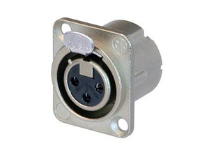 Neutrik - NC3FD-LX - 3 pole female receptacle, solder cups, Nickel housing, silver contacts.