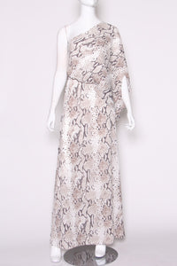 Delicate Python Slouchy One Shoulder Maxi Dress