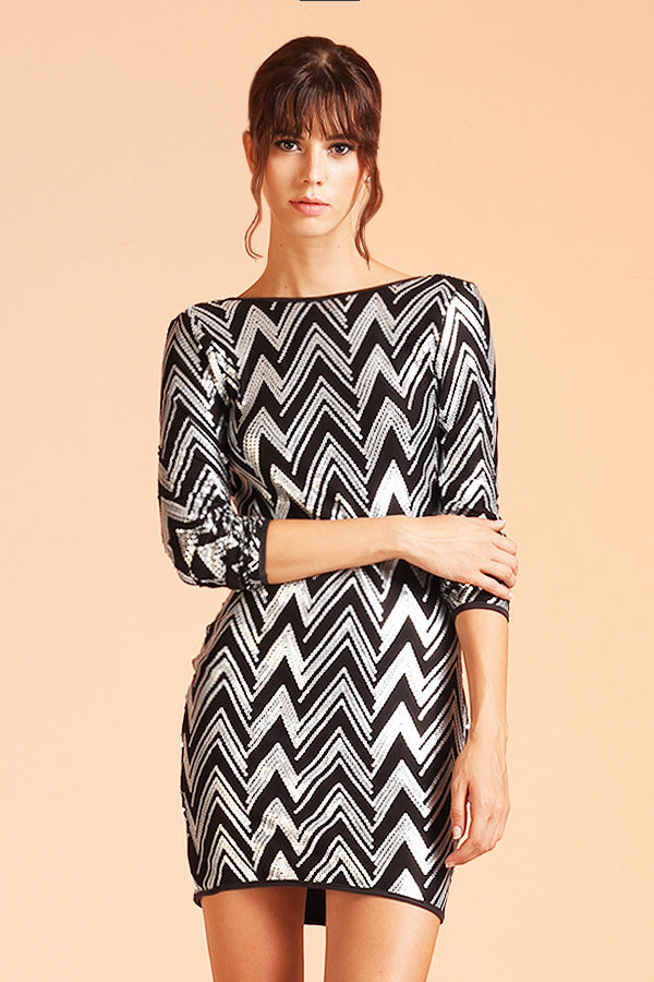 Zig Zag Backless Sequin Dress - Ahri