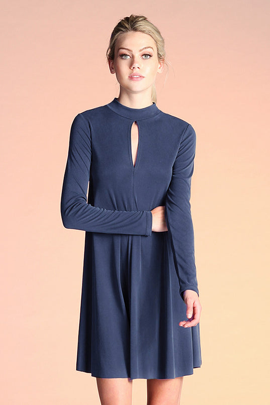 Ribbed Knit Mock Neck Dress - Ahri