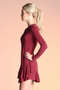Ribbed Knit Ruffle Dress - Ahri