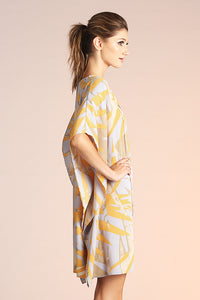 Abstract Palm Caftan Dress