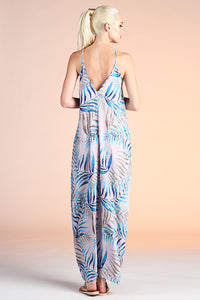 Watercolor Palm Leaf Cocoon Maxi Dress - Ahri