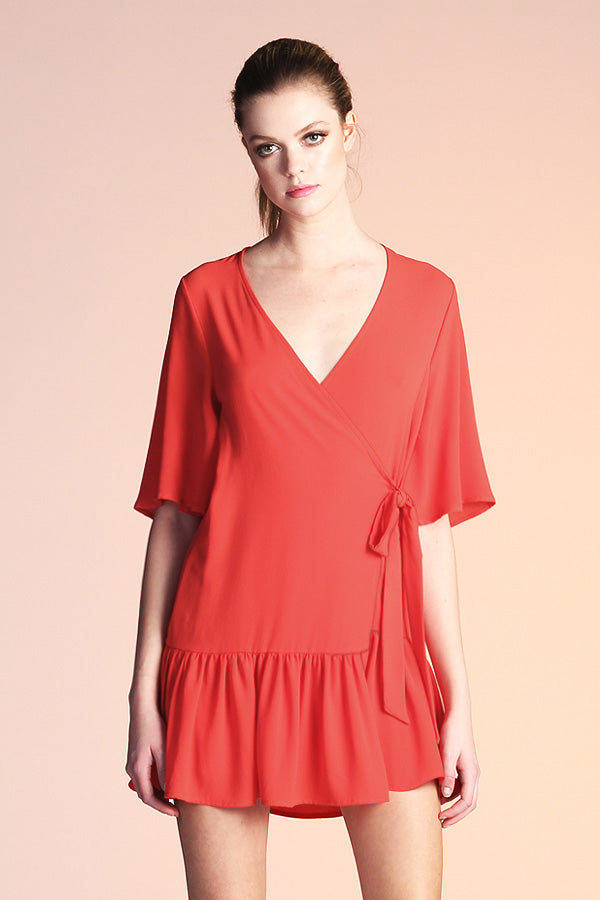 Side Wrap Mumu Dress - Red