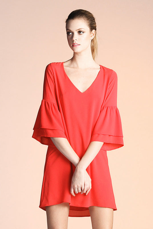 Ruffle Sleeve V-Neck Dress - Ahri