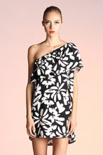 Load image into Gallery viewer, Graphic Daisy One Shoulder Dress