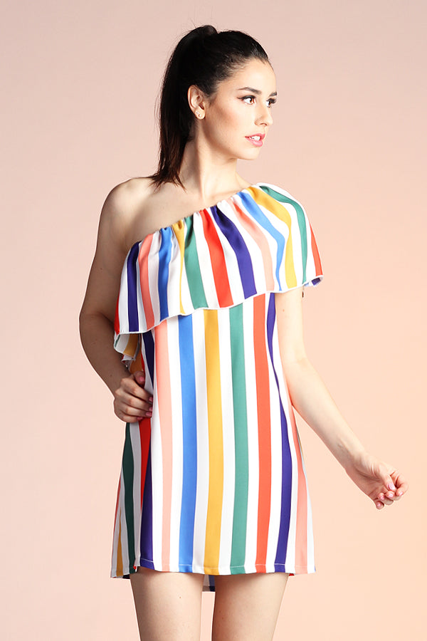 One Shoulder Rainbow Stripe Dress - Ahri