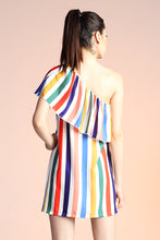Load image into Gallery viewer, One Shoulder Rainbow Stripe Dress - Ahri