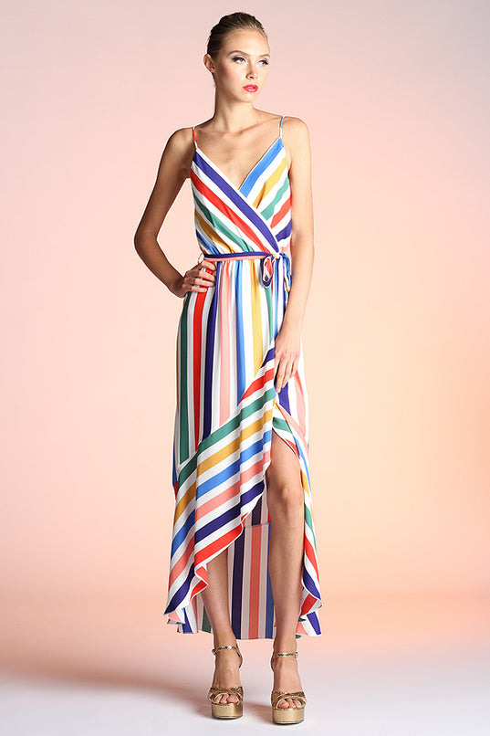 Rainbow Stripe High Low Dress - Ahri