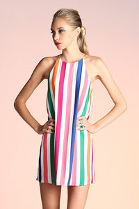 Rainbow Stripe Shift Dress - Ahri