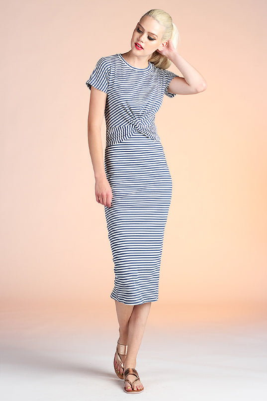 Striped Bandage Midi Dress - Ahri