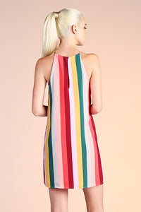 Sunset Rainbow Stripe Shift Dress - Ahri