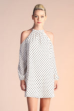 Load image into Gallery viewer, Flocked Polka Dot Cold Shoulder Dress - Ahri