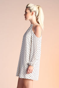 Flocked Polka Dot Cold Shoulder Dress - Ahri