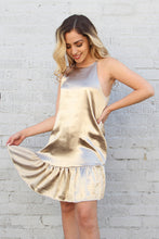 Load image into Gallery viewer, Liquid Satin Ruffle Bottom Dress - Gold