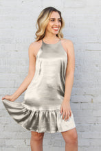 Load image into Gallery viewer, Liquid Satin Ruffle Bottom Dress - Oyster