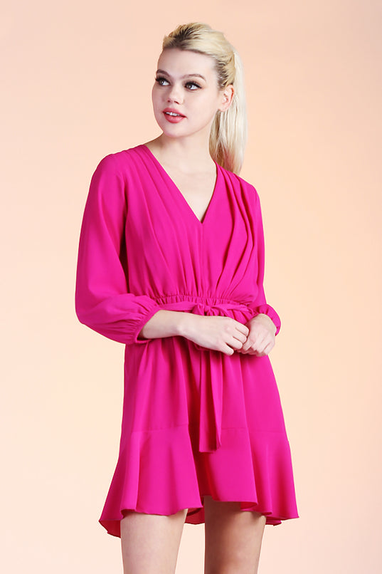 Pleated V-Neck Day Dress