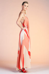 Geo Curve Halter Maxi Dress - Ahri