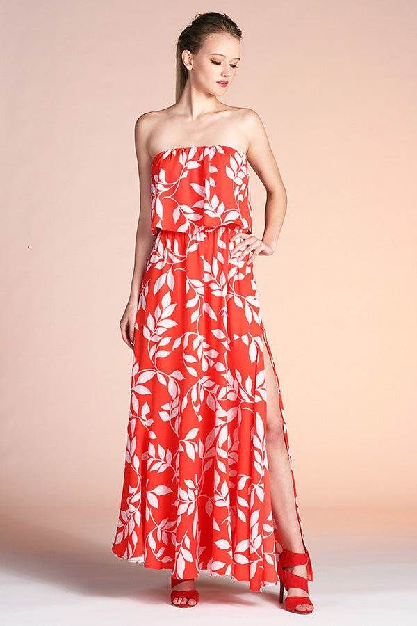 Maui Leaf Strapless Dress