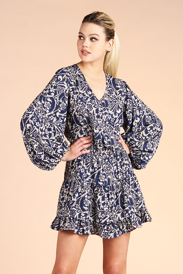 Filigree Baroque Print Balloon Sleeve Dress - Ahri