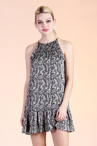 Abstract Honeycomb Ruffle Bottom Dress - Ahri