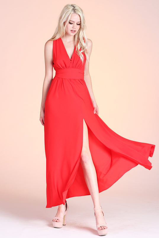 Textured Solid Slit Front Maxi