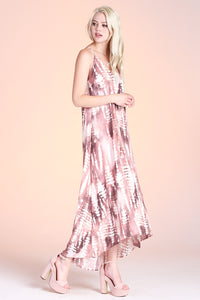 Shibori Tie Dye High Low Midi Dress