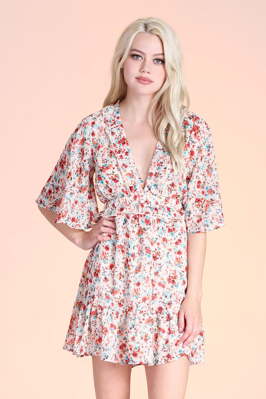 Wild Flower Ruffle Day Dress